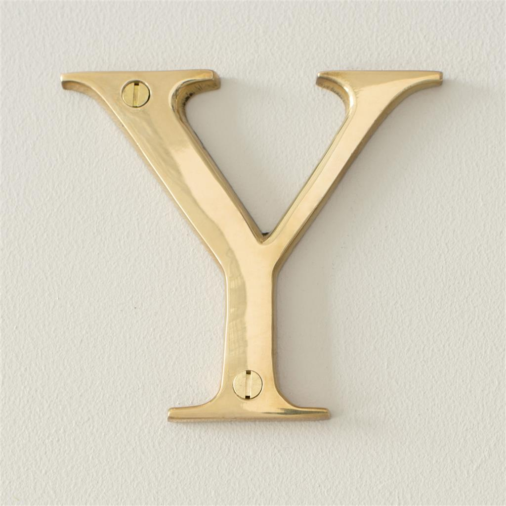 Letter Y in Polished Brass