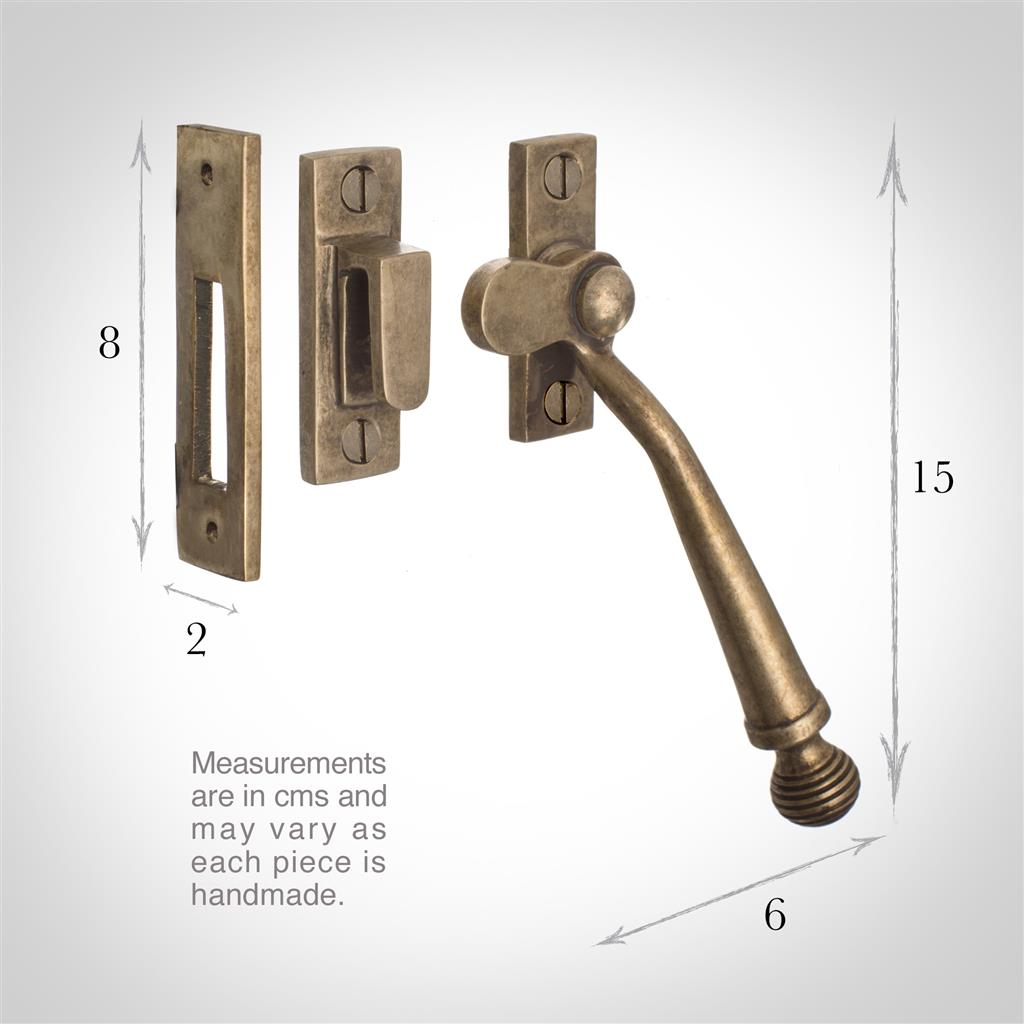Georgian Window Latch (Left Side) in Antiqued Brass