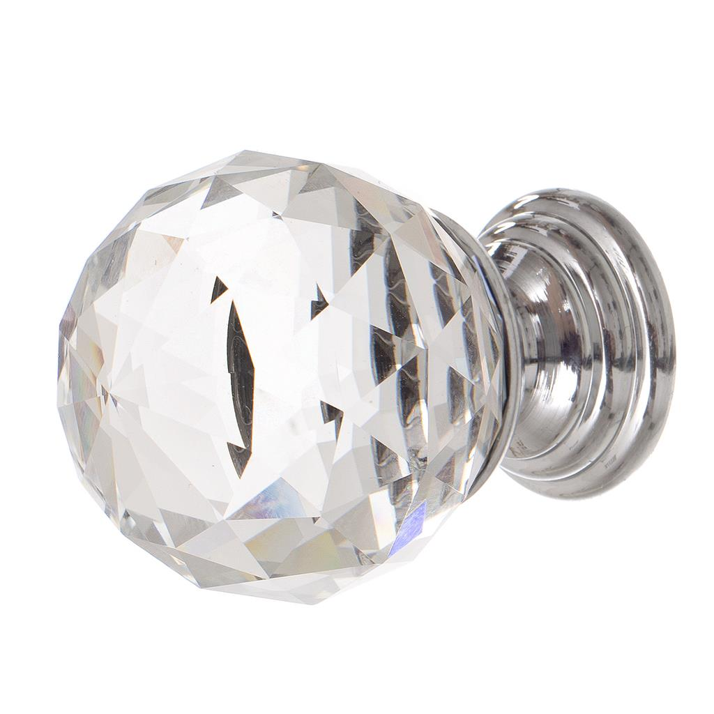 29mm Crystal Cupboard Knob in Nickel