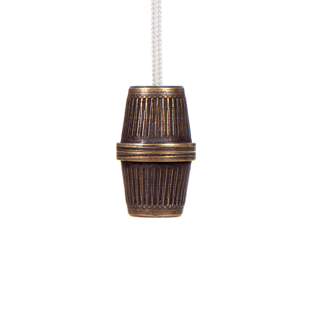 Reeded Light Pull Set in Antiqued Brass