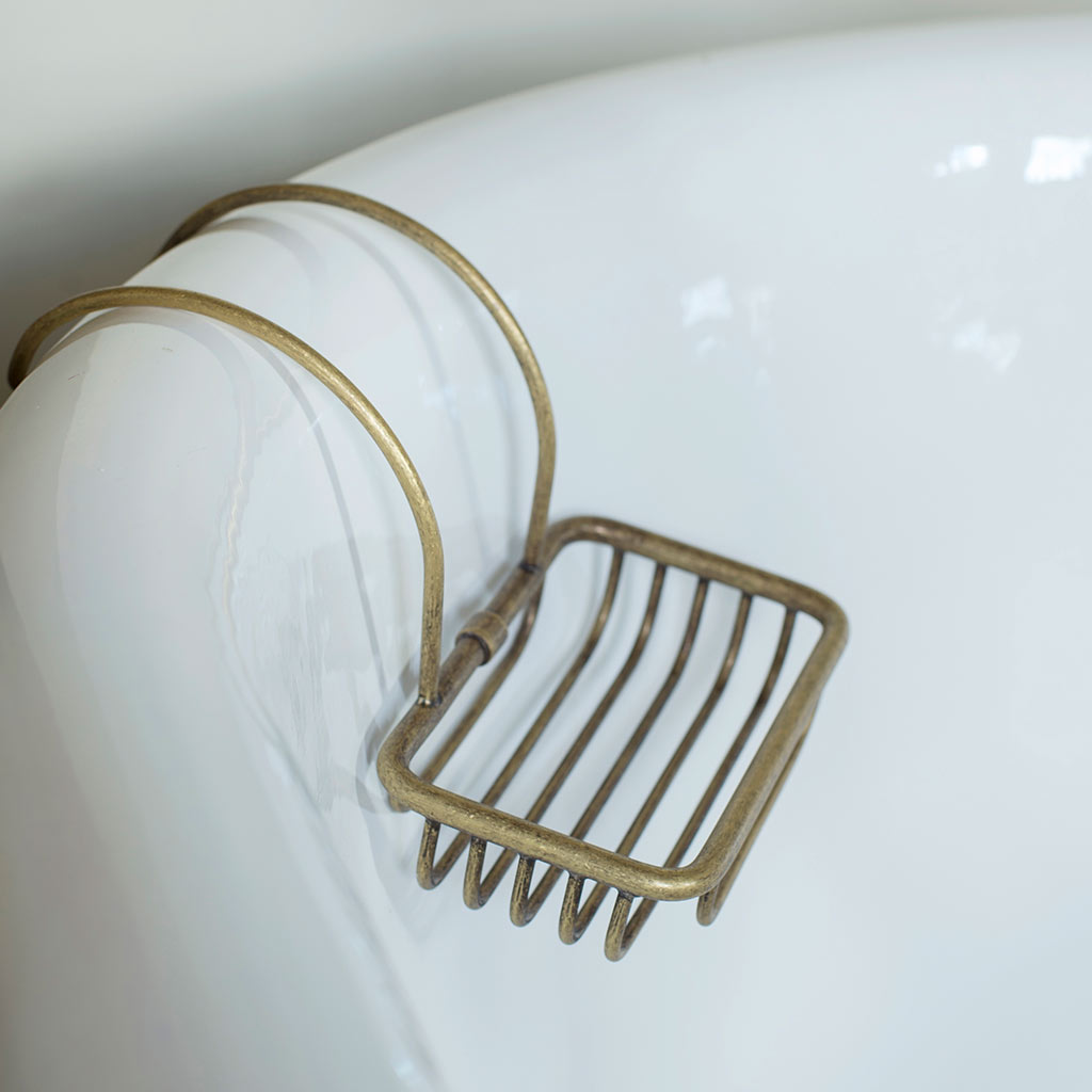 Bletchley Roll Top Soap Basket in LacqueredAntiqued Brass