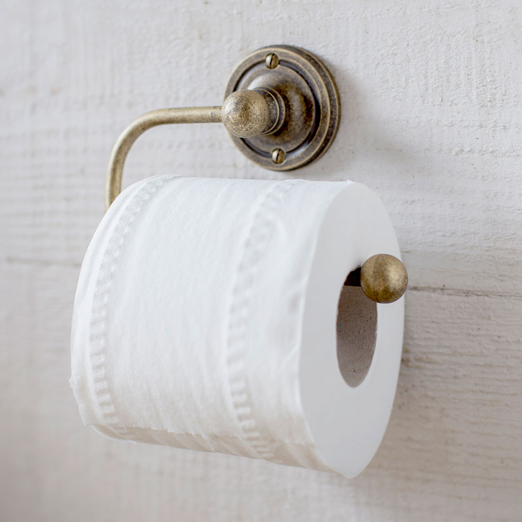 Bletchley Loo Roll Holder in Lacquered AntiquedBrass