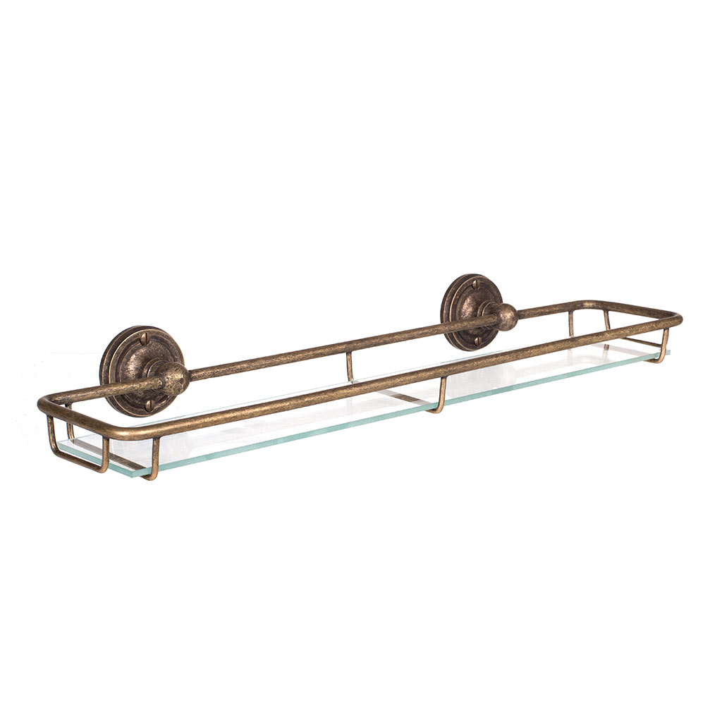 Bletchley Shelf in Lacquered Antiqued Brass