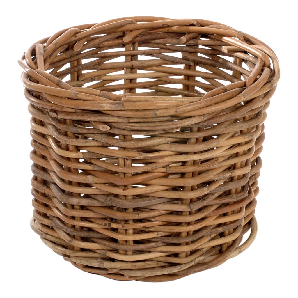 Tiny Wicker Basket With Handle : Small round rattan log basket storage holder