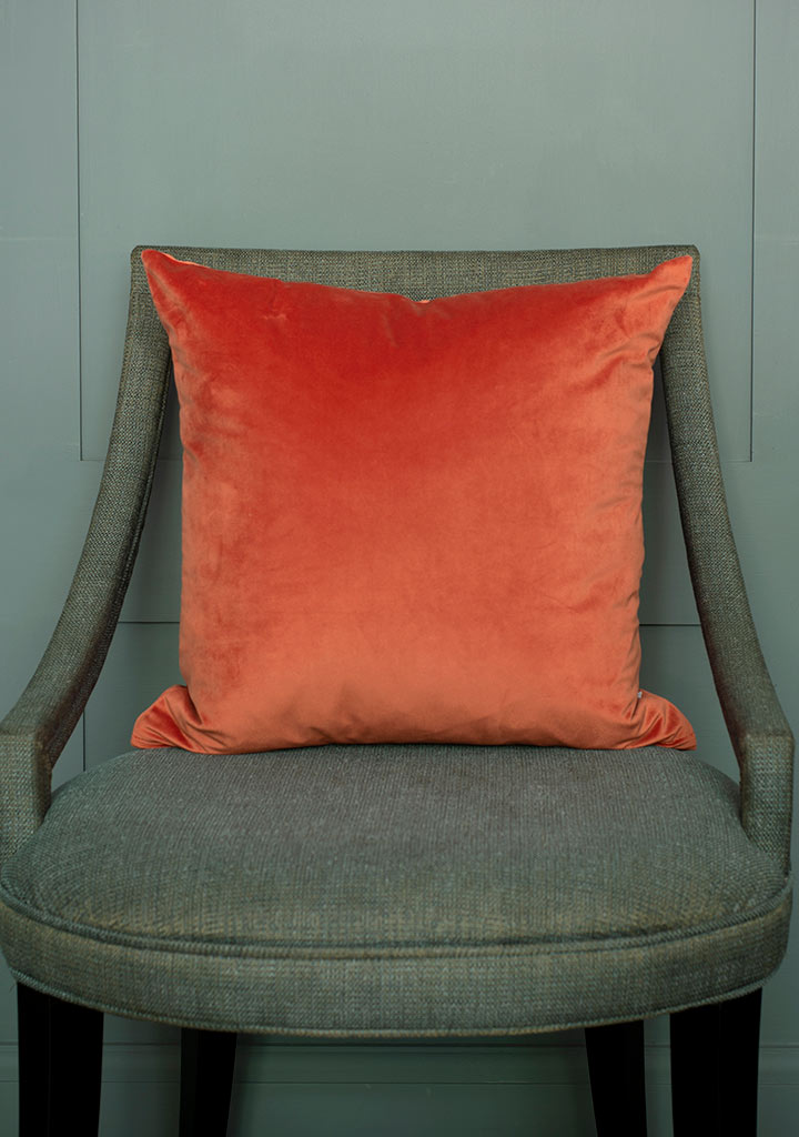 Hunstanton Velvet Cushion Cover in Burnt Orange (50cm x 50cm)