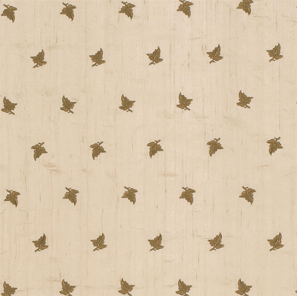 Embroidered leaf silk dupion fabric in cream jim