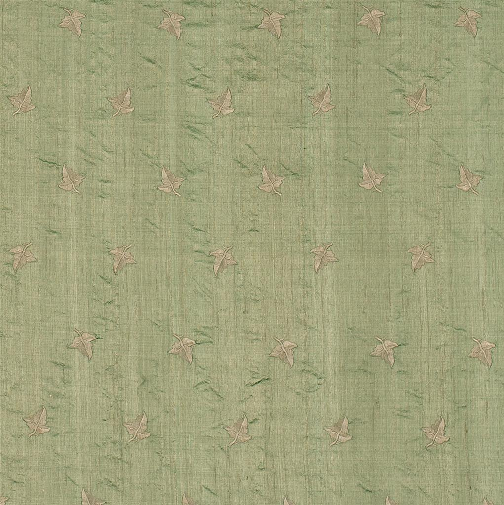 Embroidered leaf silk dupion fabric in green jim
