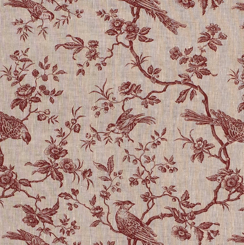 Isabelle Printed Linen Fabric in Red