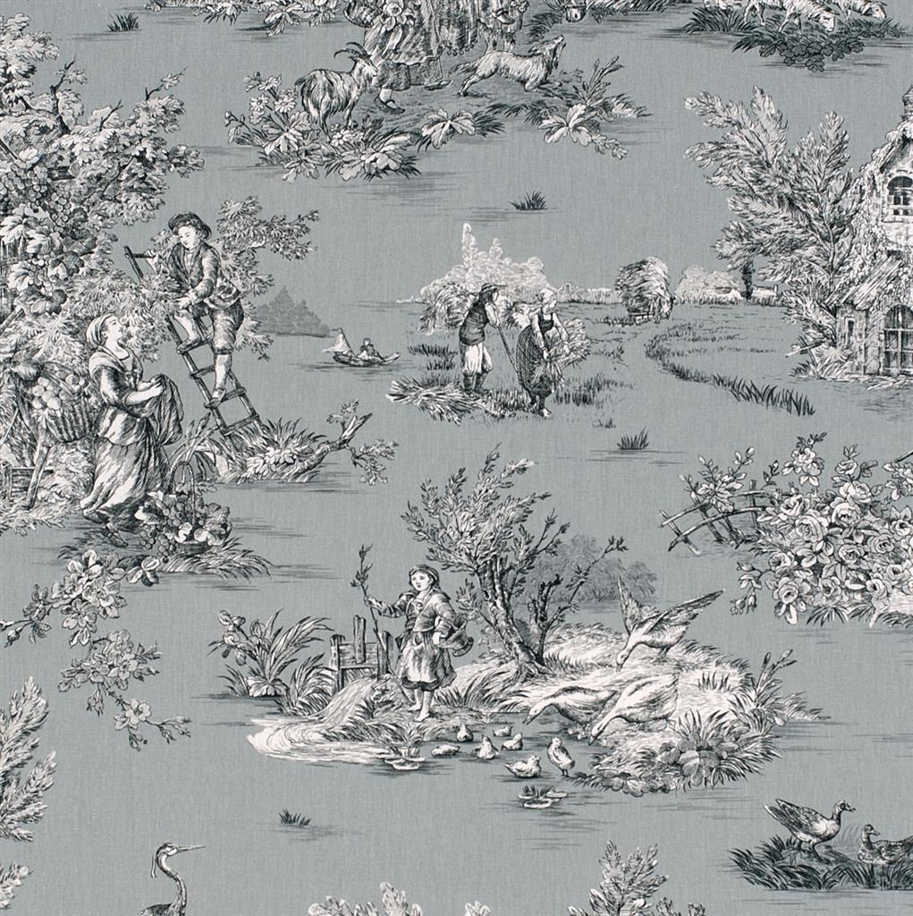 Pastoral Toile De Jouy Fabric In Grey Jim Lawrence