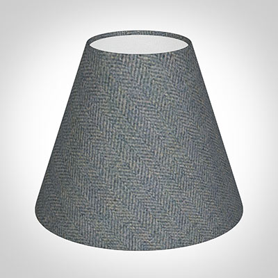 Bathroom Candle Shade,Blue Herringbone Lovat Tweed
