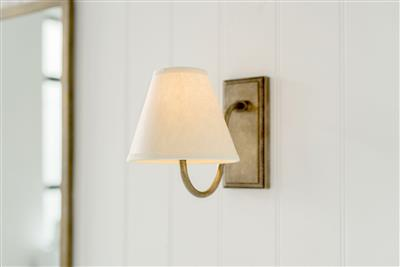 Bathroom Candle Shade in Parchment with Cream Trim