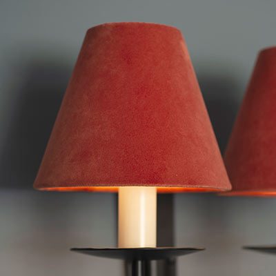 Candle Shade in Burnt Orange Hunstanton Velvet