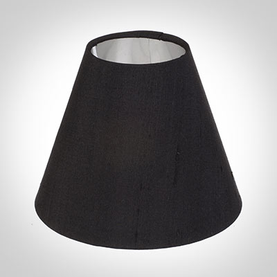 Candle Shade in Black Silk lined with Silver Card
