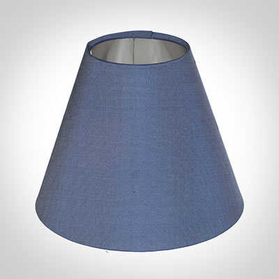 Candle Shade in Slate Blue Silk lined with Silver Card