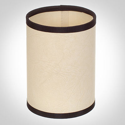 Cylinder Candle Shade in Parchment with Black Trim