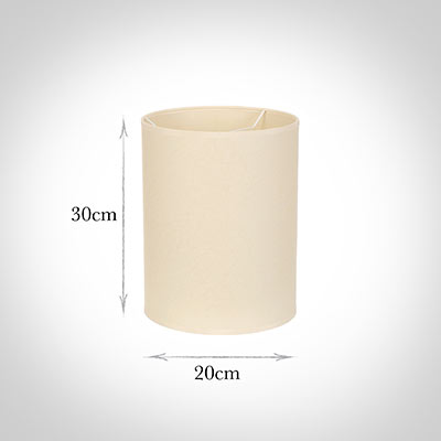 20cm Narrow Cylinder Shade in Parchment withCream Trim