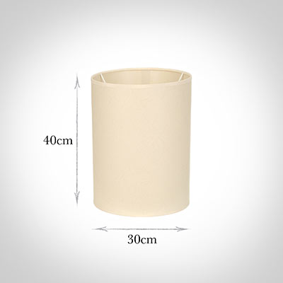 30cm Narrow Cylinder Shade in Parchment withCream Trim