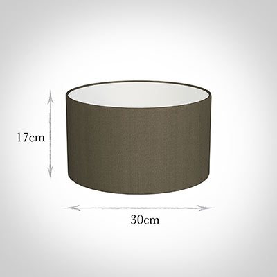 30cm Wide Cylinder Shade in Bronze Brown Silk
