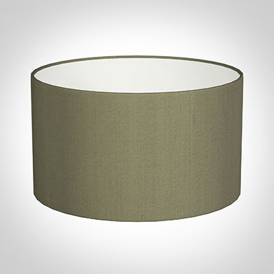 35cm Wide Cylinder Shade in Watered Green Silk