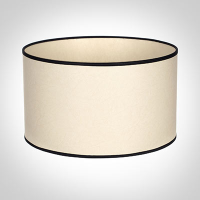 40cm Wide Cylinder Shade in Parchment with Black Trim
