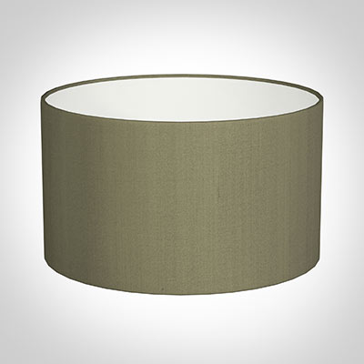 45cm Wide Cylinder Shade in Watered Green Silk