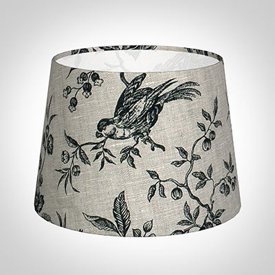 20cm Medium French Drum Shade in Black Isabelle Linen