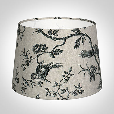 30cm Medium French Drum Shade in Black Isabelle Linen