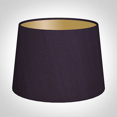 30cm Medium French Drum Shade in Deep AubergineSilk lined with Gold Card
