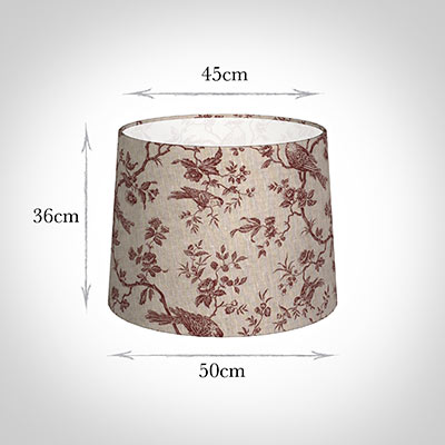 50cm Medium French Drum Shade in Red Isabelle Linen