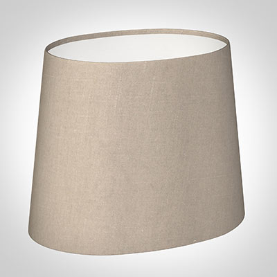 20cm Sloped Oval Shade in Putty Killowen Linen (with shade Ring)
