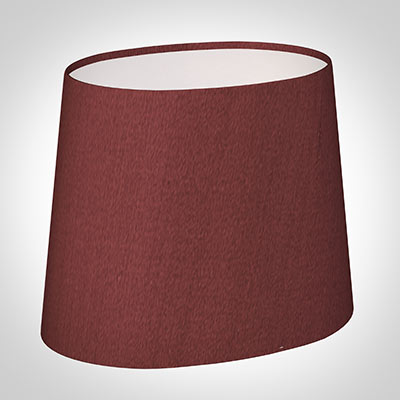 20cm Sloped Oval Shade in Antique Red Silk (withShade Ring)