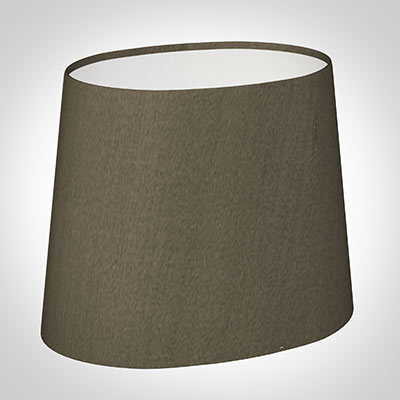 20cm Sloped Oval Shade in Bronze Brown Silk (withShade Ring)
