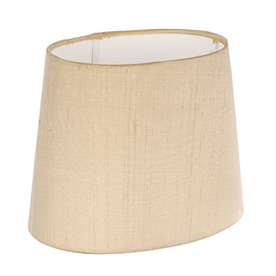 20cm Sloped Oval Shade in Buttermilk Silk (withShade Ring)