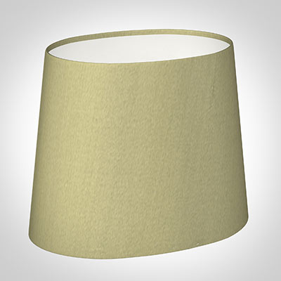 20cm Sloped Oval Shade in Sage Green Silk (withShade Ring)