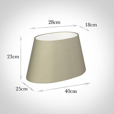 40cm Sloped Oval Shade in Pale Smoke Satin