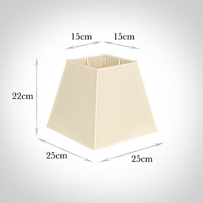 25cm Sloped Square Shade in Parchment with Cream Trim