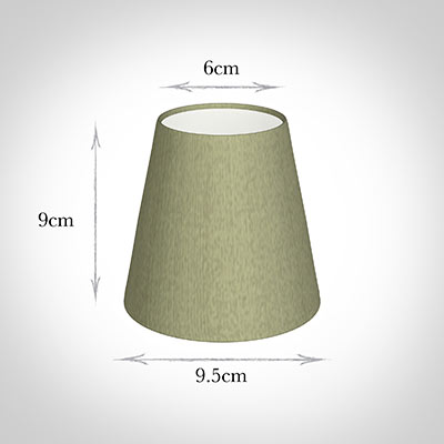 Tapered Candle Shade in Pale Green Faux Silk