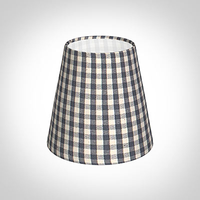Tapered Candle Shade in Stone Grey Gingham