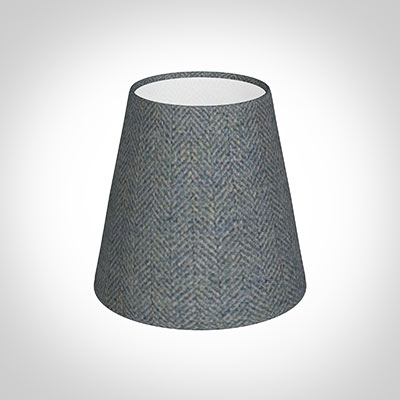 Tapered Candle Shade in Blue Herringbone Lovat Tweed