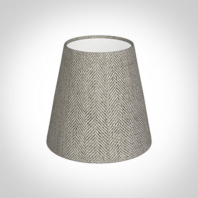 Tapered Candle Shade in Limestone Herringbone Lovat Tweed