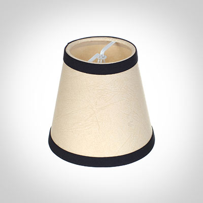 Tapered Candle Shade in Parchment with Black Trim
