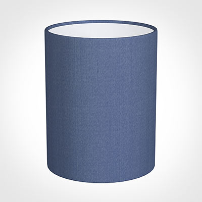 16cm Medium Cylinder Shade in Slate Blue Silk