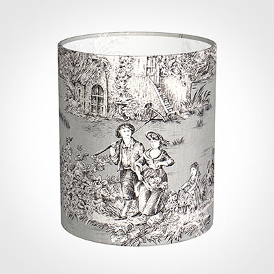 20cm Medium Cylinder Shade in Grey Pastoral Toile de Jouy