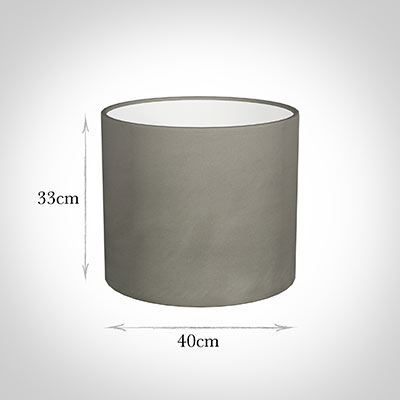 40cm Medium Cylinder Shade in Pewter Satin