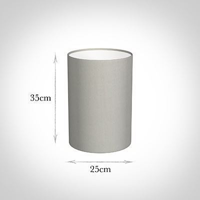 25cm Narrow Cylinder Shade in Soft Grey Waterford Linen