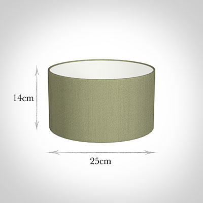 25cm Wide Cylinder Shade in Pale Green Faux Silk