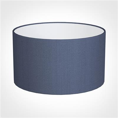 30cm Wide Cylinder Shade in Blue Faux Silk