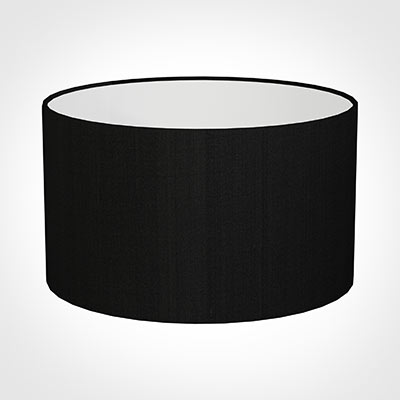 50cm Wide Cylinder Shade in Black Silk