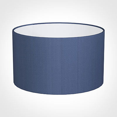 50cm Wide Cylinder Shade in Slate Blue Silk