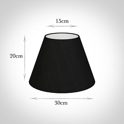 30cm Empire Shade in Black Silk -Lamp Base Only